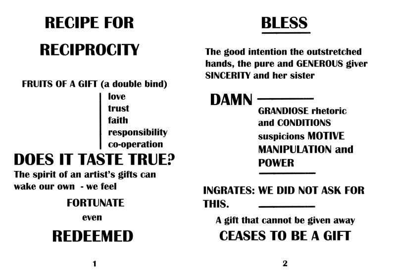 'Recipe for Reciprocity' 2012