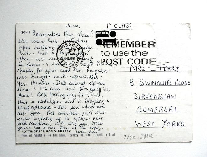 50 Days of Altered Postcards: #2 (back)