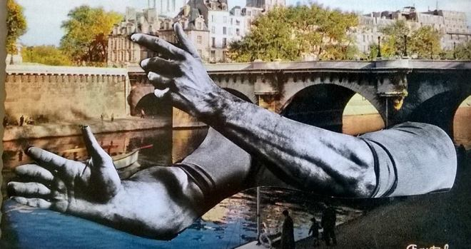 altered postcard from pont de neuf